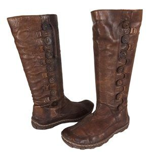 Born Brown Leather Button Tall Riding Boots -N1053